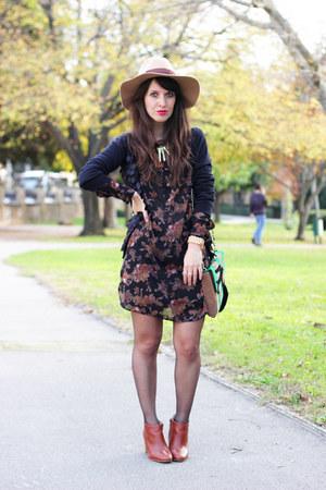 crimson obey dress - teal pepa loves bag - tan beginning boutique accessories