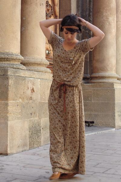 brown Zara dress - gold SIX accessories