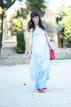 light blue Cache Cache dress - hot pink satchel bag Cache Cache accessories