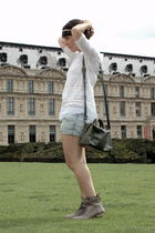 gray Zara Trf shoes - blue Zara Trf shorts - white The Kooples blouse