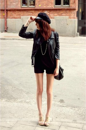 leather jacket jacket - black hat - black purse - purple romper - nude wedges