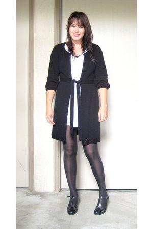 white Forever 21 dress - black Alfani sweater - black Target tights - black thri