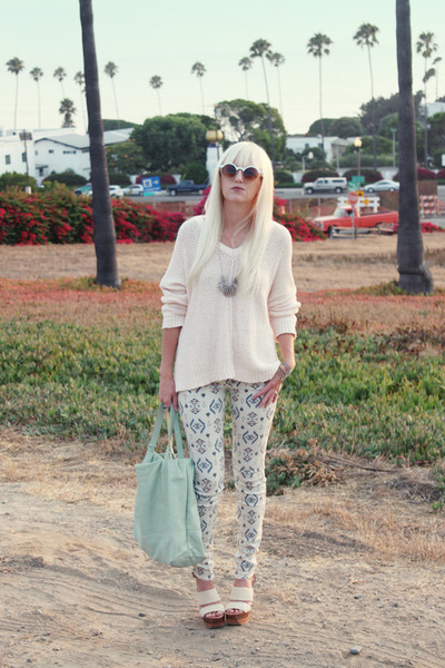 eggshell oversized unknown sweater - aquamarine unknown bag