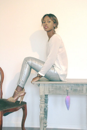 silver Zara pants - white Zara blouse - camel Mango sandals