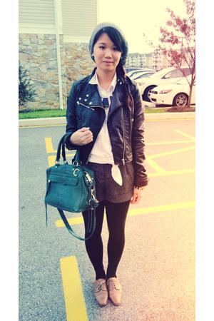black motorcycle H&M Trend jacket - teal satchel Rebecca Minkoff bag