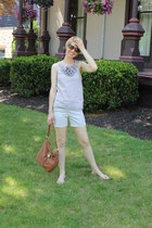ruffle Jcrew blouse - khaki Jcrew shorts - tortoise shell Ray Ban sunglasses