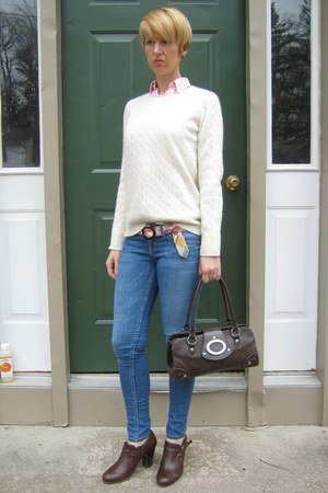 pink Ralph Lauren blouse - skinny Guess jeans - JCrew sweater