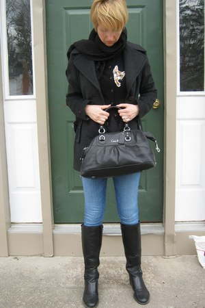 black cat storets cardigan - gray calvin klein coat - skinny Guess jeans