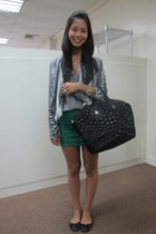 black studded Givenchy bag - heather gray tank Zara top - green Zara skirt