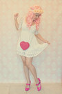Ivory-lace-empire-bubble-tees-dress-pink-heart-h-m-bag