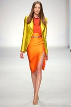 gold Aquilano blazer - carrot orange Aquilano top - orange Aquilano skirt - belt