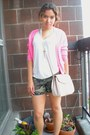 Olive-green-camo-ebay-shorts-white-t-shirt-hot-pink-neon-j-crew-cardigan