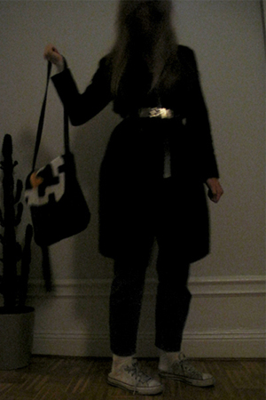 black acne pants - black Rodebjer coat - black vintage accessories - white Conve