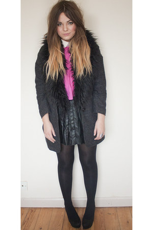 black pleated Primark skirt - black fur tweed Topshop coat