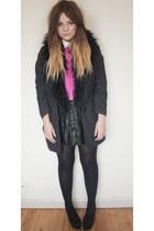 black pleated Primark skirt - black fur tweed Topshop coat