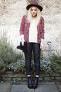 Crimson-fedora-primark-hat-brick-red-plaid-river-island-jacket