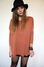 gold spyglass Zara Taylor necklace - felt H&M hat - black body con H&M skirt