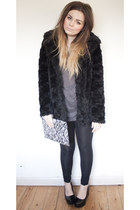 heather gray clutch H&M bag - black fur Topshop coat - black H&M leggings