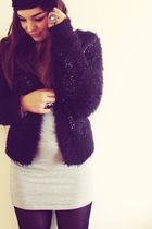 black Topshop cardigan - silver American Apparel dress - black Primark tights -