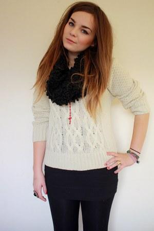 beige Primark jumper - black textured snood Primark scarf - black H&Ms skirt
