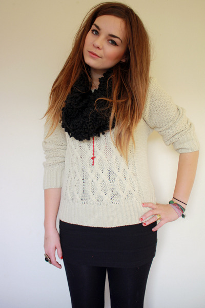 beige Primark jumper - black textured snood Primark scarf - black H&Ms skirt