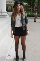 pink new look shirt - black H&M shorts - black Primark jacket - black new look s