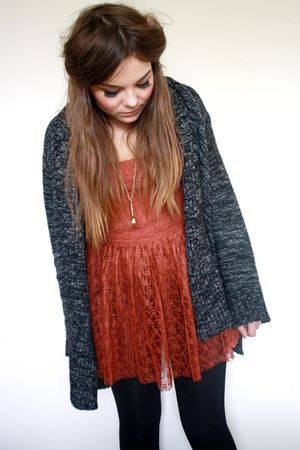 orange lace tunic Topshop dress - gray new look cardigan