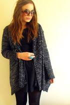black new look dress - gray new look cardigan - blue H&M accessories - brown H&M