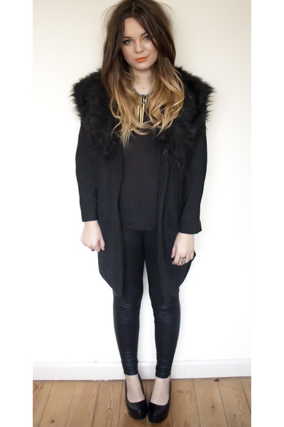 black Boohoo coat - black Topshop leggings - black Primark t-shirt