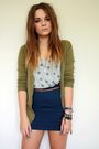 Blue-h-m-skirt-green-h-m-cardigan-brown-primark-belt-gray-new-look-vest