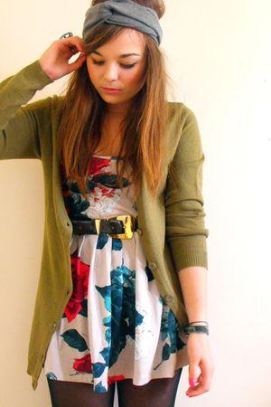 green H&M cardigan - silver Primark dress - brown vintage belt - gray Babooshka