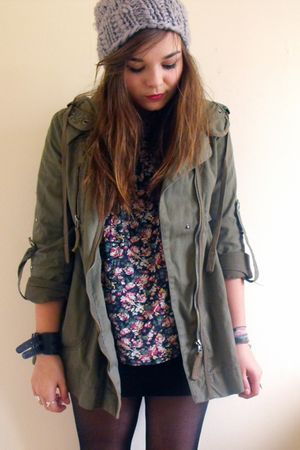 blue Primark shirt - green Topshop coat - gray slouchy hat H&amp;M hat