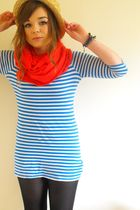 blue new look dress - beige Primark hat - black Topshop leggings - red cupcake c