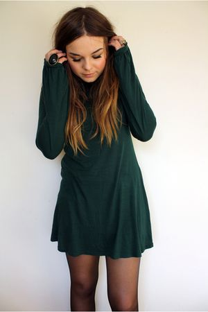 green Topshop dress - purple Primark cardigan