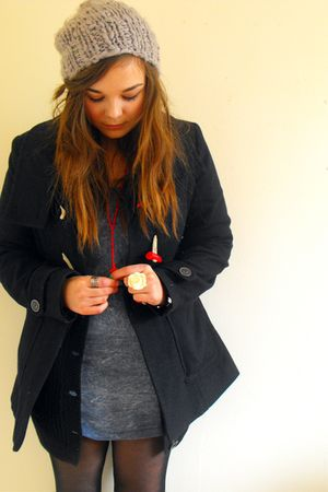 blue Dorothy Perkins coat - blue Primark dress - black Primark cardigan - red Eb