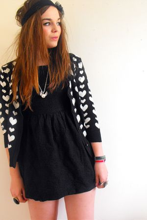 black Primark cardigan - black lace dress new look dress - new look accessories