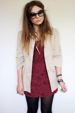 beige cropped mac Primark coat - pink lace patterned Dorothy Perkins dress
