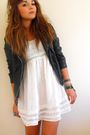 Black-primark-jacket-white-primark-dress