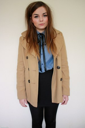 camel new look coat - light blue H&amp;M shirt - black H&amp;M skirt - black Craft store