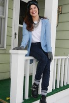 Wanted shoes - Love Culture jeans - H&M hat - powder blue American Eagle sweater
