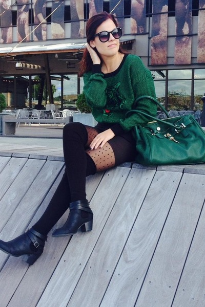 Love Culture sweater - Urban Outfitters boots - Forever 21 tights - Aldo bag