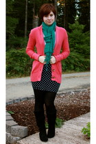 coral American Eagle sweater - black Target boots - teal Open Hands scarf