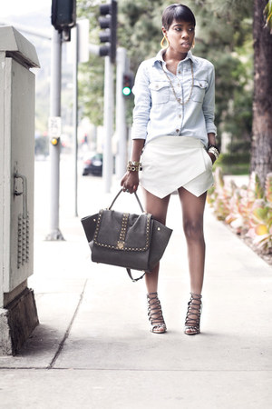 skort Zara shorts - denim shirt BCBGeneration shirt
