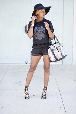 floppy hat H&M hat - Missguided shorts - leopard print Steve Madden heels