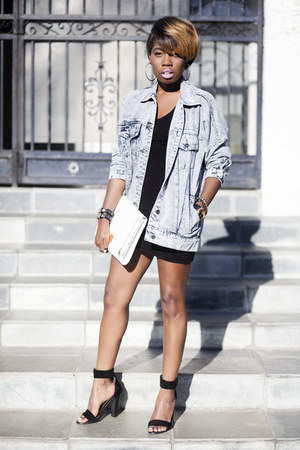 oversized denim Boohoo jacket - clutch ted baker bag - sandals Tibi heels