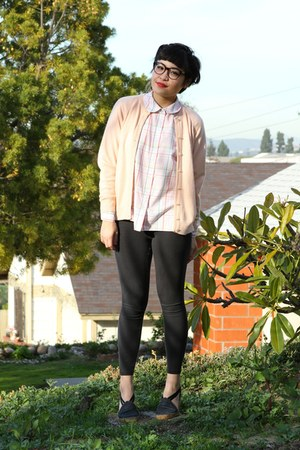 peach vintage cardigan - charcoal gray Forever 21 leggings