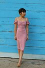 Pink-romance-dress-stop-staring-dress-nude-peep-toe-thrifted-vintage-heels