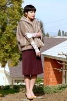 magenta a-line vintage skirt - light pink satin vintage gloves