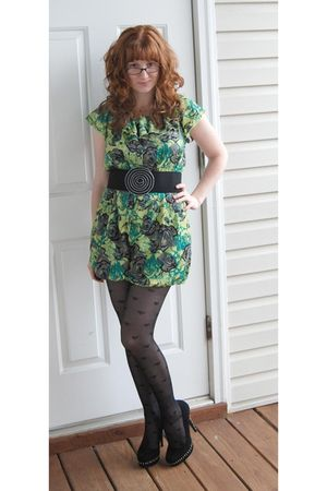 green Forever21 - black tights - black Steve Madden shoes - black Candies belt
