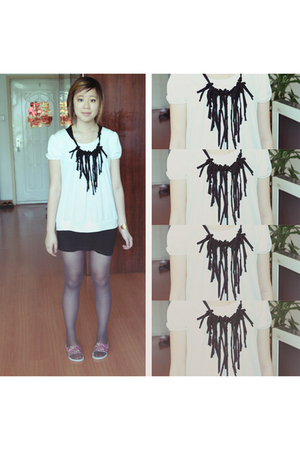 lan bao shi dress - jing wu xing blouse - DIY necklace - thrifted tights - hero 